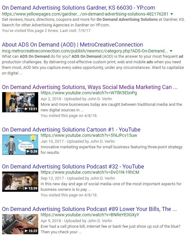 video podcasts in search screenshot
